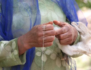 ギャベの毛糸を作り上げる